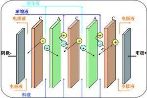 均相膜电渗析工作原理示意图